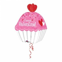 Helium Ballon Sweet Valentine Cupcake 60cm leeg