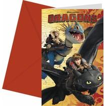 Dragons Uitnodigingen 6 stuks