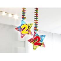 Hangdecoratie 2 Jaar 75cm 2 stuks
