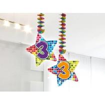 Hangdecoratie 3 Jaar 75cm 2 stuks