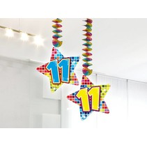 Hangdecoratie 11 Jaar 75cm 2 stuks