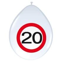 Ballonnen 20 Jaar Verkeersbord 30cm 8 stuks