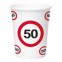 Bekers 50 Jaar Verkeersbord Karton 350ml 8 stuks
