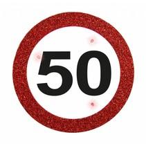Badge 50 Jaar Verkeersbord met verlichting 12cm