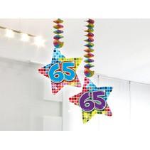 Hangdecoratie 65 Jaar 75cm 2 stuks