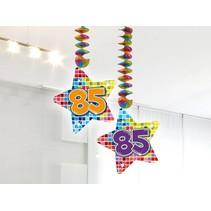 Hangdecoratie 85 Jaar 75cm 2 stuks