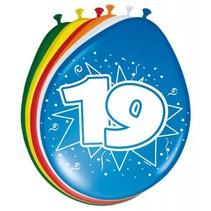 Ballonnen 19 Jaar 30cm 8 stuks