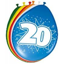 Ballonnen 20 Jaar 30cm 8 stuks