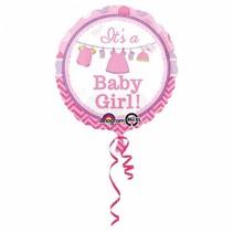 Helium Ballon Geboorte Meisje Baby Girl 43cm leeg