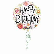 Helium Ballon Happy Birthday Bloemen 43cm leeg