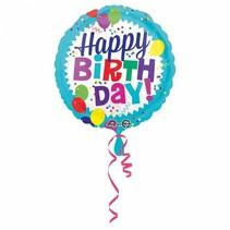 Helium Ballon Happy Birthday Blauw Rond 43cm leeg