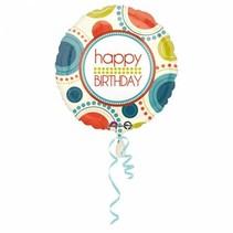 Helium Ballon Happy Birthday Cirkel 43cm leeg