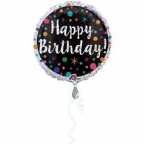 Helium Ballon Happy Birthday Stip Glitter 43cm leeg