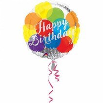 Helium Ballon Happy Birthday Zilver Dots 43cm leeg