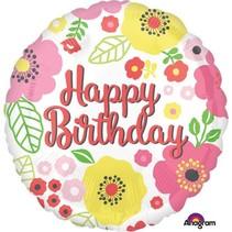 Helium Ballon Happy Birthday Roze Bloemen 43cm leeg