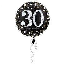 Helium Ballon 30 Jaar Zilver 43cm leeg