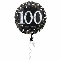 Helium Ballon 100 Jaar Zilver 43cm leeg