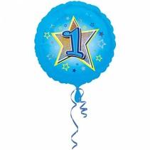 Helium Ballon 1 Jaar Blauw 43cm leeg