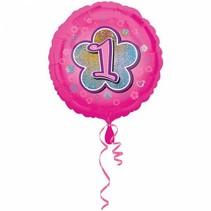 Helium Ballon 1 Jaar Roze 43cm leeg
