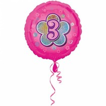 Helium Ballon 3 Jaar Roze 43cm leeg