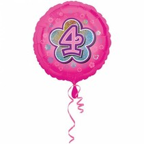 Helium Ballon 4 Jaar Roze 43cm leeg