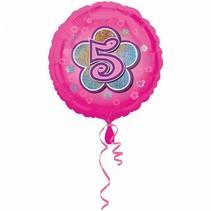 Helium Ballon 5 Jaar Roze 43cm leeg