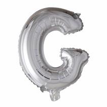 Folie Ballon Letter G Zilver XL 86cm leeg