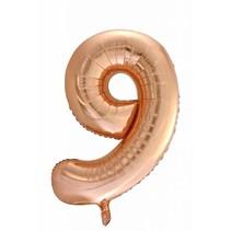 Folie Ballon Cijfer 9 Rosé Goud XL 86cm leeg