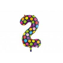 Folie Ballon Cijfer 2 Stippen XL 86cm leeg