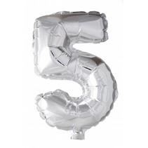 Folie Ballon Cijfer 5 Zilver 41cm met rietje