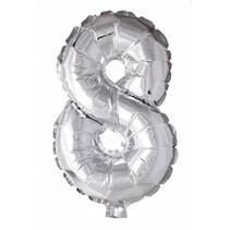 Folie Ballon Cijfer 8 Zilver 41cm met rietje