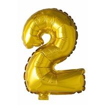 Folie Ballon Cijfer 2 Goud 41cm met rietje