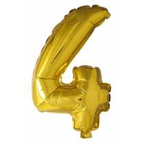 Folie Ballon Cijfer 4 Goud 41cm met rietje