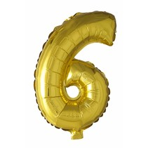 Folie Ballon Cijfer 6 Goud 41cm met rietje