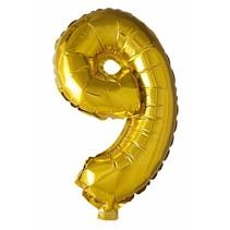 Folie Ballon Cijfer 9 Goud 41cm met rietje