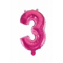 Folie Ballon Cijfer 3 Roze 41cm met rietje