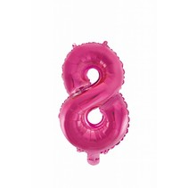 Folie Ballon Cijfer 8 Roze 41cm met rietje