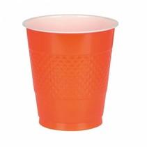 Oranje Bekers Plastic 355ml 10 stuks