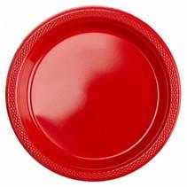Rode Gebaksbordjes Plastic 18cm 8 stuks