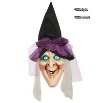 Halloween Wanddecoratie Heks met licht en geluid 120cm
