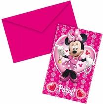 Minnie Mouse Uitnodigingen Party 6 stuks
