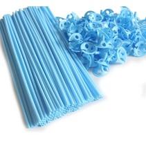 Ballonstokjes Lichtblauw met houders 40cm 100 stuks