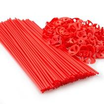 Ballonstokjes Rood met houders 40cm 100 stuks