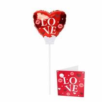 Hartjes Ballon Love op stokje 15cm met kaartje