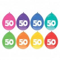 Ballonnen 50 jaar Party 30cm 8 stuks