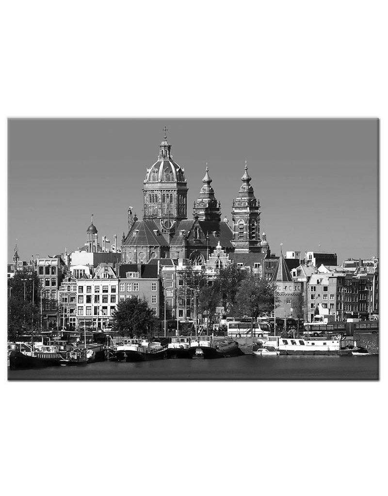 Zwart wit foto amsterdam op canvasdoek   my little gallery