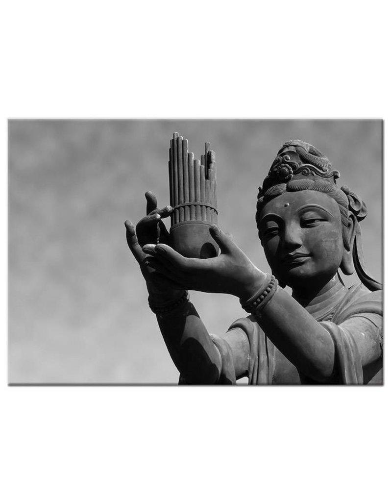 Zwart wit foto schilderij boeddha gift   my little gallery