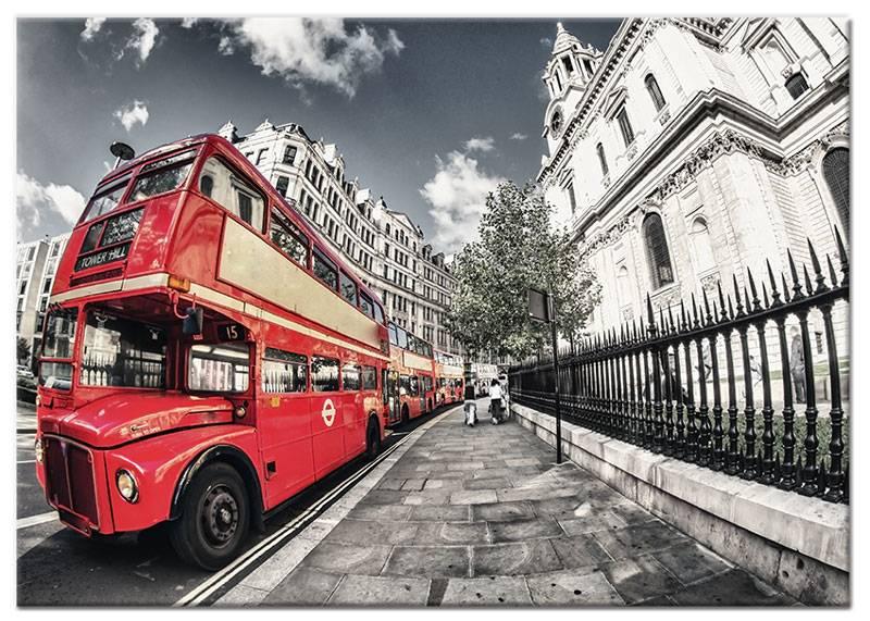 Schilderij rode bus londen my little gallery - Trendy kamer schilderij ...