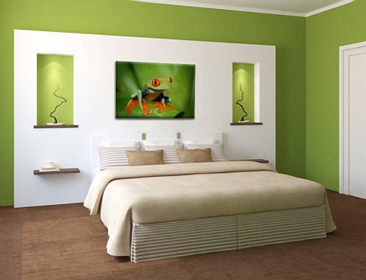 Schilderij Groene Kikker op Canvas - My Little Gallery