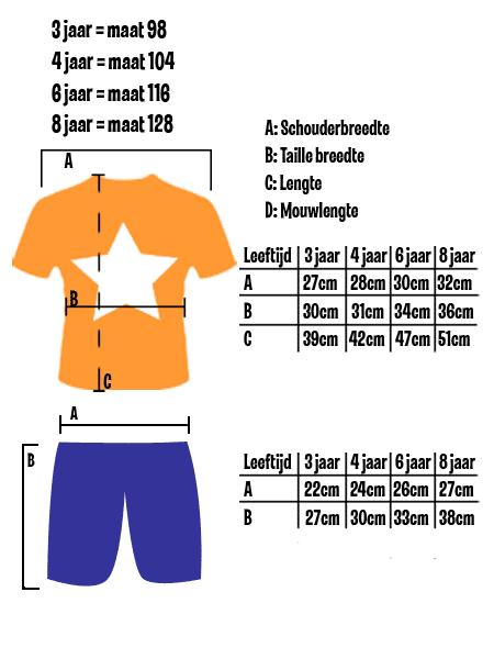 Maattabel korte minion pyjama
